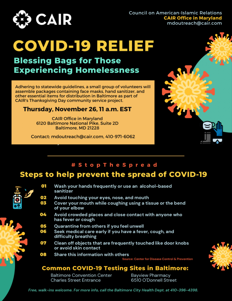 CAIR to Assemble #COVID19Relief 'Blessing Bags' for Thanksgiving Day Distribution in Baltimore